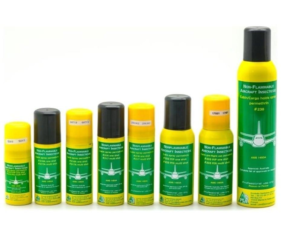 Produit Inflight Insecticide Aérosol Permethrine pour contrôler la présence d'insectes dans la cabine, le cockpit et la soute